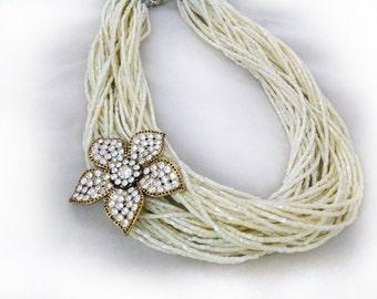 Crystal Choker,Cream Crystal Bridal Necklace , Rhinestone Flower Brooch Choker