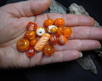 Mixed Orange. Orphan Glass Bead Set. Handmade Lampwork. Jewelry Supply.  LWS-69