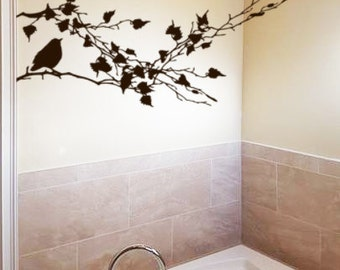 Bird Decal, Branch Wall Decal, Bathroom Decor, Kitchen Vinyl Wall Decal, Bird decor, Wall stickers, Sliding Glass Door Sticker, Modern Decor