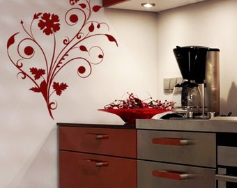 Flower Wall Decal, Floral Decor, Window Vinyl Decal, Office Wall Art,  Abstract Part 82