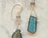 SALE * Labradorite Abstract Briolette Drop Earrings