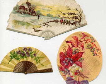 Victorian Scrap - Three Die Cut Fans - Late 1800's