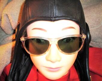 Black Leather Retro Aviator Hat (39), Unisex Men Women Soft Leather Flyer Cap
