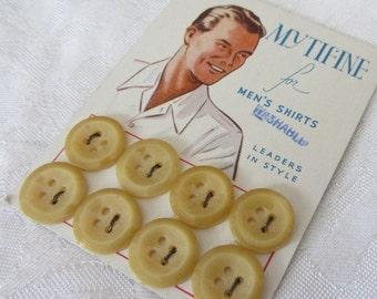 Set of 8 VINTAGE Graphic Mens Shirt Tan Cream Plastic BUTTONS