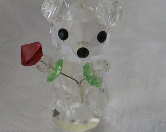 VINTAGE Tiny Crystal Bear with Heart Flower