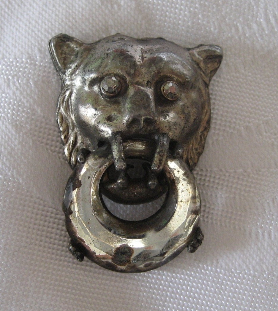 Large antique silver metal mirrored lion head door knocker - Large lion head door knocker ...