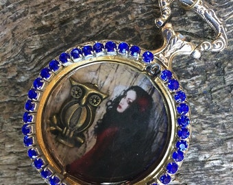 Resin Graphic Pendant Necklace in Steampunk Fantasy Victorian Goth Watch Owl