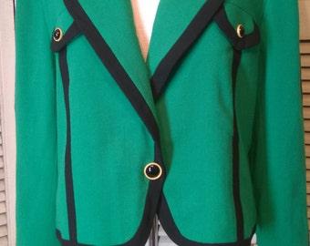 80s Vintage Designer Carlisle Green Wool Blazer Jacket