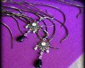SALE!!!  flower earrings, flower filigree charm earrings in silver, grey, black & clear