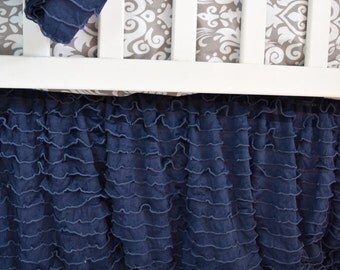 Navy Crib Skirt - Navy Blue Crib Skirt - Blue Crib Skirt - Ruffled Crib Skirt - Long Crib Skirt Ruffle Crib Skirt - Navy Bedding Dust Ruffle