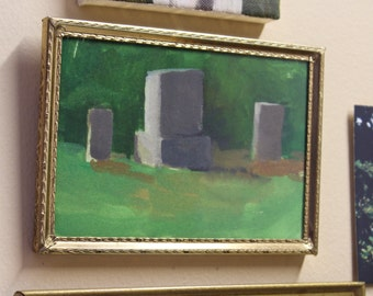 cemetery original watercolor gouache painting / landscape painting / plein air painting / original artwork / framed artwork