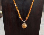 Laguna Agate Gemstone Sphere Necklace Golden Sundance Necklace Orange Agate Chip Beads