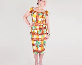50s Kamehameha Green Print Cotton Sarong Dress M L