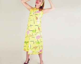 60s Pineapple Screen Print Yellow Cotton A Line Dress S