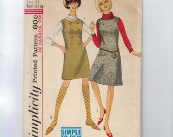 1960s Vintage Sewing Pattern Simplicity 6097 Junior Misses Jumper with Button Front Military Detail Size 11 Bust 31 1/2 Waist 24 25  60s  99