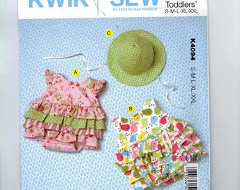 Kids Sewing Pattern Kwik Sew K4094 4094 Baby Toddler Ruffled Bubble Romper and Hat Size 3 6 8 12 18 24 months UNCUT