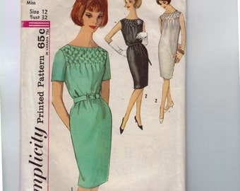 1960s Vintage Sewing Pattern Simplicity 4826 Misses Smocked Front Shift Dress Size 12 Bust 32 60s 1960s