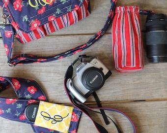 3 Piece Photography Photographer Set with Medium Camera Bag, Camera Strap Cover and Lens Pod