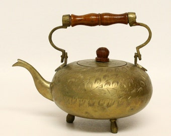 Brass Footed Teapot with Etched Floral Design & Wooden Handle
