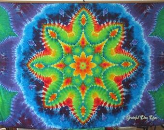 Tie Dye, Mandala Tapestry, Rayon tie dye wall hanging, tie dye banner, tie dye shirts by Grateful Dan, hippie tie dye, festival tie dye