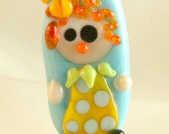 Clown Focal Lampwork Bead Burnt Wood Beads SRA USA