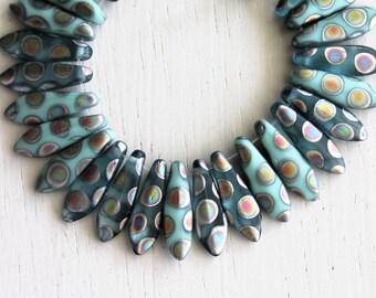 50 Matte Blue Turquoise/Gray Peacock 5x15mm Czech Glass Dagger Beads