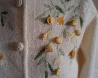 Soft Cream Sweater with Embroidered Yellow Flowers