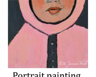 Acrylic Girl Portrait Painting. Mixed Media Collage Art. Pink Winter Coat. Gift for Friend.