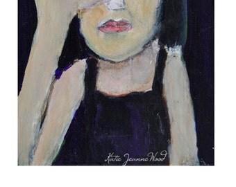 Acrylic Portrait Painting. Funny Portrait Art. Humorous Gifts. Woman Painting. Zero F*cks