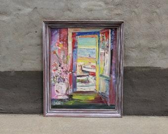 Sea View Window Large Impressionist Still Life Original Painting