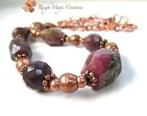 Chunky Stone Necklace Gemstone Chain. Raw Watermelon Tourmaline. Dark Burgundy Deep Wine Red Jewelry. Mookaite Jasper. Hammered Copper Chain