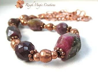 Chunky Stone Necklace Gemstone Chain. Raw Watermelon Tourmaline. Dark Burgundy Deep Wine Red Jewelry. Mookaite Jasper. Hammered Copper Chain