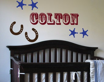 Cute Cowboy - Monogram - Wall Decals