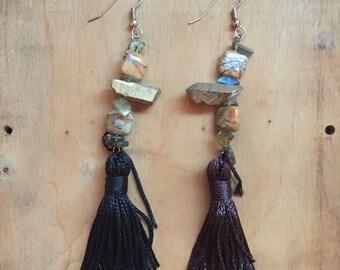 Black Tassel Earrings // Crystal Earrings // Stone Jewelry // Jasper // Boho Jewelry // Statement Earrings // Bohemian Style // Metaphysical
