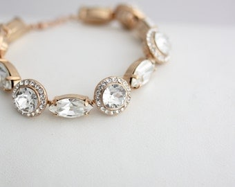 Wedding Bracelet Rose Gold Crystal Bracelet Wedding Jewelry Rose Gold Halo Bracelet  Pink Gold Bracelet Blush Crystal Bracelet ELORA