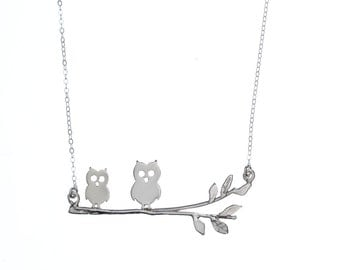 Owls on a branch sterling silver necklace