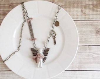 Shabby Cottage Chic Romantic Frozen Charlotte Angel Mixed Media Assemblage Altered Bronze and Silver Statement Necklace