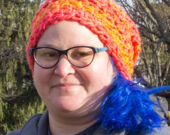 Orange and Pink Wool Slouchy Hat