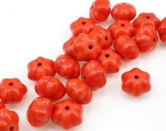 24 Orange Pumpkin Beads 12mm x 8mm Dyed Ceramic Beads - Halloween Autumn Fall Beads Harvest Thanksgiving Beads Pumpkin Orange Beads for Fall