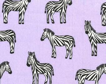 Zebras Lavender FLANNEL Michael Miller Fabric 1 yard