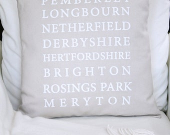 Pride and Prejudice Pillow Cover, Pride and Prejudice Locations, Jane Austen Pillow, Pemberley, Jane Austen Gifts, Pride and Prejudice