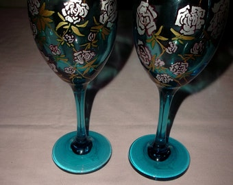 Pair of Blue Wine Stem Glasses with Hand Painted Roses Silver and Gold Original Art Mom Sister Friend Wine Lover