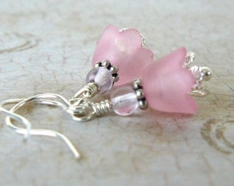 Pink Flower Earrings, Light Pink Tulips, Pastel Jewelry, Floral Dangles, Small Pink Earrings, Gift For Her