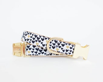 Valentine's Day Dog Collar - Black, White and Metallic Gold
