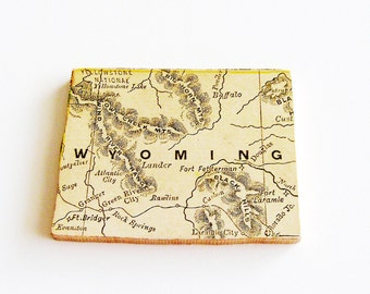 1907 Wyoming Brooch - Pin / Unique Wearable History Gift Idea / Upcycled Antique Wood Jewelry / Timeless Gift Under 50