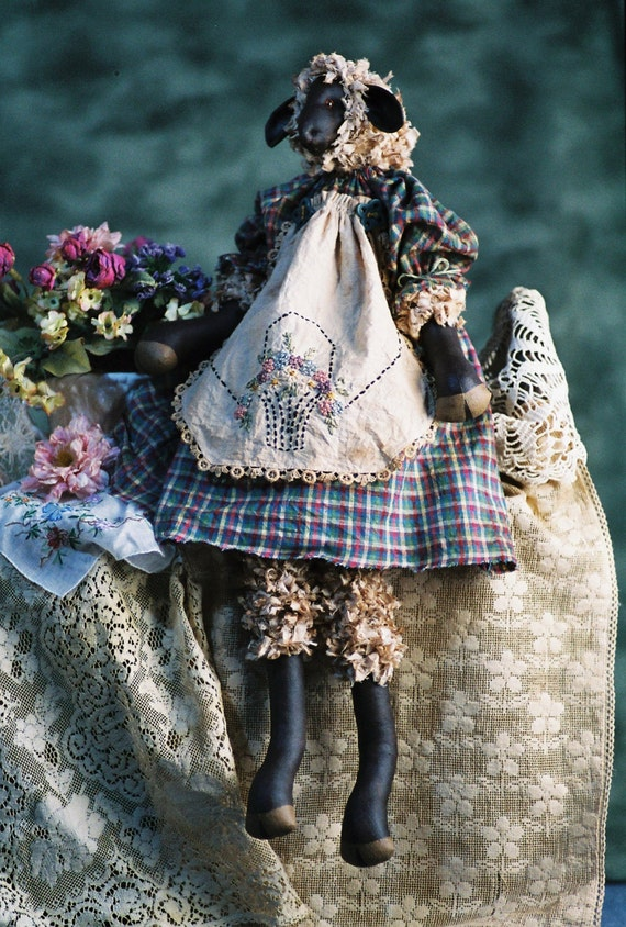 Mailed Cloth Doll Pattern Primitive Girl Lamb Sheep