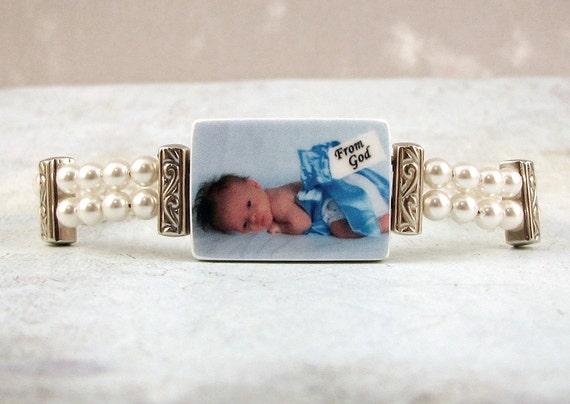 Vintage Style Pearl and Photo Charm Bracelet - Medium - P2B2
