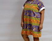 Vintage Plus Size Dress // Egyptian Print T-Shirt Dress // Plus Size Knit Dress // XL XXL Dress