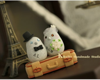 love bird cake topper with luggage base---Special Edition (K206)