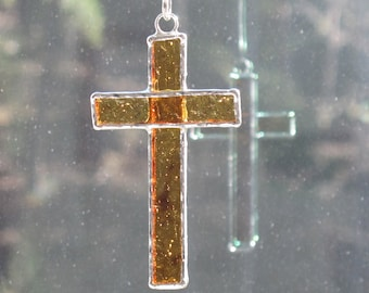 Small stained glass cross - amber - brown - christian suncatcher